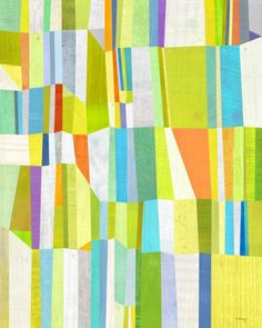 modern quilt with bold colors.  Kind of a technicolor aerial shot of agricultural fields.  Love it!