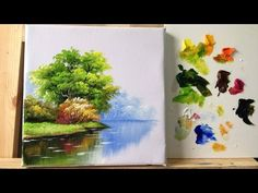 How to paint trees and bushes in acrylics part 1 - YouTube