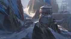 Felwinter's Peak Cliffside, Sung Choi on ArtStation at https://www.artstation.com/artwork/5ZnPP