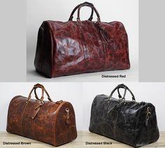 Men's Large Vintage Leather Travel Bag / Luggage / Duffle Bag / Gym Bag / Weekend Bag