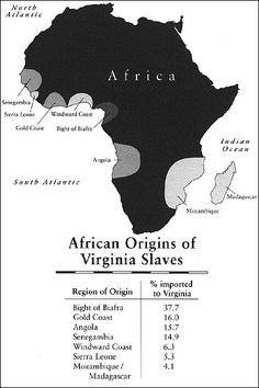 Map - African Origins of Virginia Slaves
