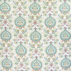 Enchanting medallion bay water drapery and upholstery fabric by Greenhouse. Item B5067-BAY-WATER. Best prices and free shipping on Greenhouse products. Only first quality. Over 100,000 designer patterns. Swatches available. Width 54 inches.