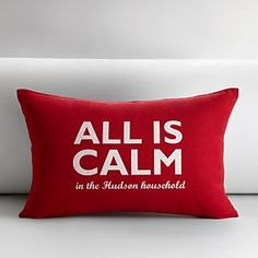 personalized all is calm throw pillow from RedEnvelope.com
