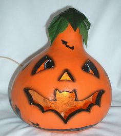 Bat Mouth Halloween Light Up JackOLantern Gourd