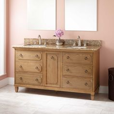 "60"" Dulce Double Vanity for Rectangular Undermount Sinks- Oak"