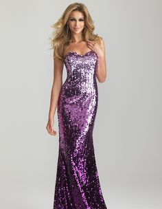 Purple Ombre Sequin Strapless Prom Dress - Unique Vintage - Cocktail, Pinup, Holiday & Prom Dresses.