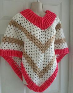 Hot Off My Hook! Project: Cowl Neck Poncho Started: 31 May  2016 Completed: 01 June 2016 Model: Madge the Mannequin Crochet Hook(s): J Cowl Portion, J, Granny Stitch portion Yarn: Bernat Super Value, Redheart Super Value Color(s) Peony Pink, Soft White, Buff Pattern Source: Simply Crochet Magazine, Issue No. 25 (Hard Copy) Pattern Designed By: Simone Francis Notes: This is my 84th Cowl-Neck Poncho!