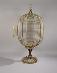 Raymond Subes Attributed; Gilt Bronze Bird Cage, c1960.