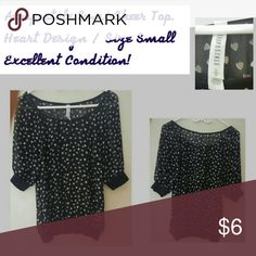 Aeropostale Hearts Semi-Sheer Top Size Small EUC Super cute top from Aeropostale!  Size Small. Semi-Sheer navy blue material with white hearts.  Excellent condition!! Bundle 2+ items for a 10% discount! Aeropostale Tops Blouses