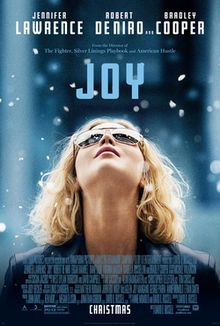 Joy is a 2015 American biographical comedy-drama film, written and directed by David O. Russell and starring Jennifer Lawrence as Joy Mangano, a self-made millionaire who created her own business empire. Mangano was a divorced mother with three children in the early 1990s when she invented the Miracle Mop and became an overnight success, after which she patented many other products, often selling on the Home Shopping Network and QVC.
