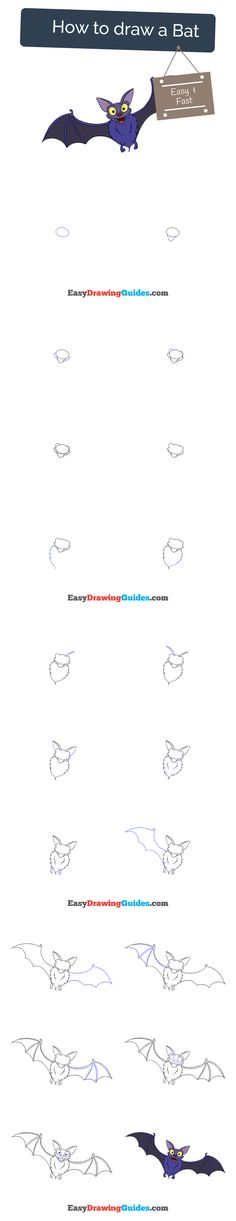 Learn How to Draw a Bat: Easy Step-by-Step Drawing Tutorial for Kids and Beginners. #bat #drawing #tutorial. See the full tutorial at https://easydrawingguides.com/how-to-draw-a-bat/