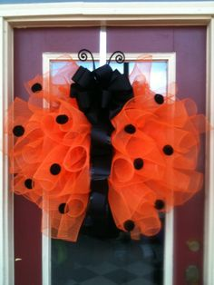 Ladybug Orange and Black Polka Dot Large 28-inch Poly Deco Mesh and Ribbon Wreath Spring and Summer Door Décor on Etsy, $50.00