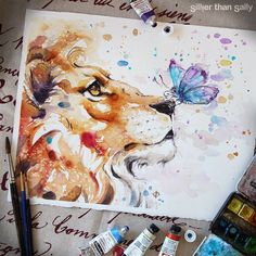 Colorful Watercolor Paintings - Nature-Inspired Watercolor Paintings By Sillier. - Colorful Watercolor Paintings – Nature-Inspired Watercolor Paintings By Sillier Than Sally – Watercolor Paintings Nature, Watercolor Drawing, Watercolor Animals, Painting & Drawing, Colorful Paintings, Watercolors, Lion Painting, Painting Portraits, Watercolor Water