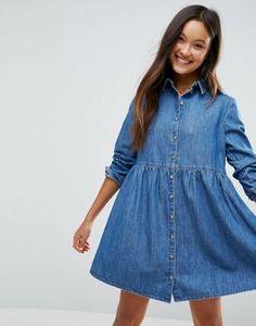 ASOS Denim Smock Shirt Dress in Mid Wash Blue