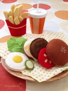 Felt Food by Tomomi Maeda : Hamburger, French Fries, Juice