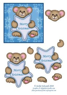 Teddy with Christmas Star Step by Step on Craftsuprint designed by Jackie Edwards - A cute topper with decoupage. Add glitter to make a great Christmas card. - Now available for download!