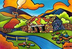 Bofin Bothy west of ireland cottage painting by saileen drumm artist Art Is Dead, City Folk, Bothy, Z Arts, Naive Art, Pictures To Paint, Summer Art, Landscape Art, Sculpture Art