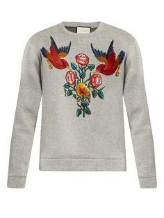 Bird and flower-appliqué cotton sweatshirt