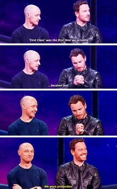 """We wore protection""  James #McAvoy & Michael #Fassbender at SDCC for @XApocalypse2016, 2015. Dorks! #Xmen #cherik  Also known as McFassy admitting to Cherik and McFassy happening lol"