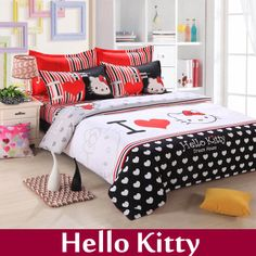 Home Textile,baby bedding set hello kitty bedding set king size bedclothes cotton edredon 4pcs bed linen bed sheet bedding sets $88.99