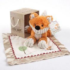 """Super cute!  """"Fox in a Box"""" Plush Fox and Lovie Gift Set  [BA-FIB]"""