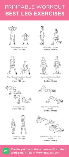 BEST LEG EXERCISES: my custom printable workout by /workoutlabs/ #workoutlabs #customworkout