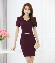image Asian Fashion, Girl Fashion, Fashion Dresses, Pretty Dresses, Dresses For Work, Formal Dresses, Office Uniform For Women, Suits For Women, Clothes For Women