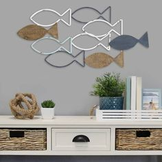 Fish Wall Decor, Fish Wall Art, Wood Wall Decor, Nautical Wall Decor, Wall Decor For Bathroom, Coastal Bathroom Decor, Wooden Wall Plaques, Rustic Wall Art, Lake Decor