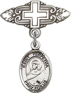 Sterling Silver Baby Badge with St Perpetua Charm and Badge Pin with Cross >>> Find out more about the great product at the image link.