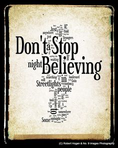 . Don't Stop Believing Lyrics  Journey Word Art  Word by no9images, $15.00