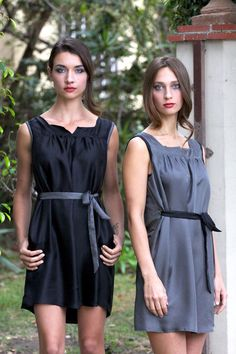 2-Color Tie-Up Shirred Mini Dress with Pockets in by kajanistudio