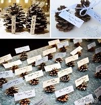 Pine cone name tag for Fall wedding