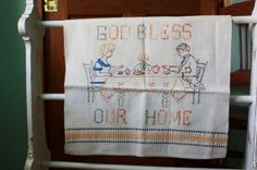 Vintage Tea Towel Dish Towel God Bless Our by VintageLinenAndLace, $12.00