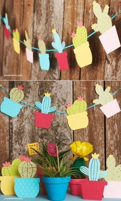 paper projects Use our templates to create your own adorable and easy paper cactus garland, which you can use as event decor for a Cinco de Mayo party or birthday fiesta! Decoration Cactus, Cactus Craft, Cactus Cactus, Cacti, Indoor Cactus, Summer Crafts, Diy And Crafts, Crafts For Kids, Summer Art