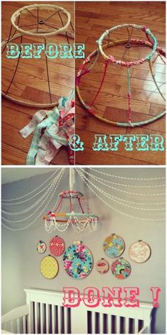 Embroidery hoops with fabric by SeriLynn