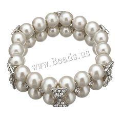 Cristal pulsera de perlas, Perlas de vidrio, con aleación de zinc, chapado en color de platina, con diamantes de imitación, 20x10mm, 9.5x16.5x6mm, longitud:aproximado 7 Inch, 5Strandsfilamento/Grupo, Vendido por Grupo,Abalorios de joyería por mayor de China