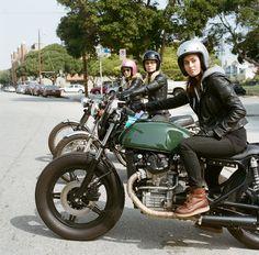 Lady Riders, new-wave cafe, Moto Guzzi, Honda, Triumph or BSA British Motorcycle, Open Face Helmets
