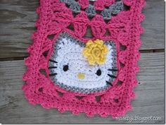 Hello Kitty granny squares. DIY crochet..