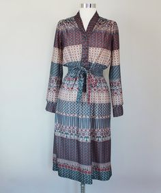 70s Vintage Floral and Geometric Shirt Dress  by Kasifoundthis, $42.00