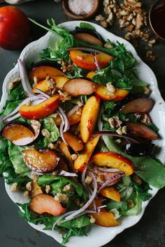Hypoallergenic Pet Dog Food Items Diet Program A Daily Something Plum Nectarine Salad Recipe Nectarine And Plum, Nectarine Salad, Nectarine Recipes, Easy Dinner Recipes, Summer Recipes, Easy Meals, Healthy Salad Recipes, Vegetarian Recipes, Healthy Food