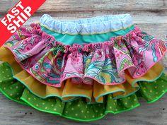 Rainbow Paisley Ruffle Bloomers Baby Ruffle Diaper Cover Newborn Bloomers Toddler Pink Yellow Aqua Lime Green Polka Dots Bella Baby Blu 6299