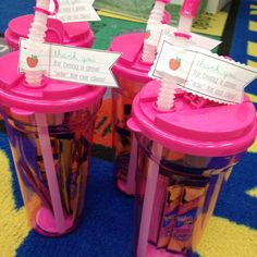 KB class gift to our paraprofessionals - thank you for being a great ade to our classroom!(pink water bottles with lemonade packets inside)