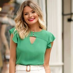 grass green chiffon top with flounce sleeves and a cut-out neckline. Blouse Patterns, Clothing Patterns, Blouse Designs, Trendy Fall Outfits, Dress Attire, Contemporary Fashion, Blouse Styles, Fashion Outfits, Womens Fashion