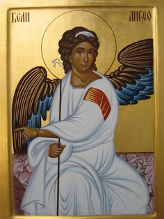 Angel at the Resurrection Catholic Religion, Catholic Art, Religious Icons, Religious Art, Angel Drawing, Archangel Raphael, Religious Paintings, Queer Art, Byzantine Icons