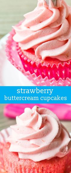 Strawberry Buttercream Cupcakes: Use a boxed cake mix and jello to make these simple strawberry cupcakes. homemade cupcakes / pink cupcakes via @tastesoflizzyt