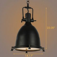 1 Light 14'' Wide Industrial Style Single Pendant with Frosted Glass