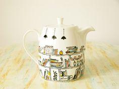 Hand drawn and painted teapot - Book-A-Holic - fine bone china via Etsy