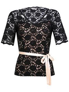Kaliko Lace Belt Blouse, Black online at JohnLewis.com - John Lewis