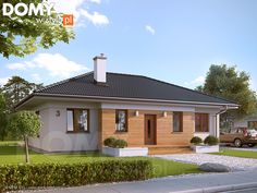 Decyma 2 on Behance One Level House Plans, 3d House Plans, House Layout Plans, House Layouts, Cedar Cladding, Exterior Design, Home Projects, Bungalow, Sweet Home