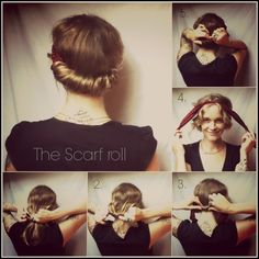 Opt for a sleek and chic look with this style. Tie your scarf as you would for a headband then twist your hair behind the scarf and secure w...